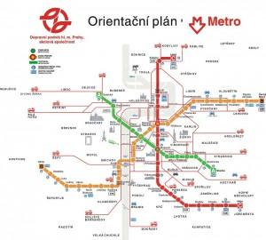 Карта (схкма) метро Праги