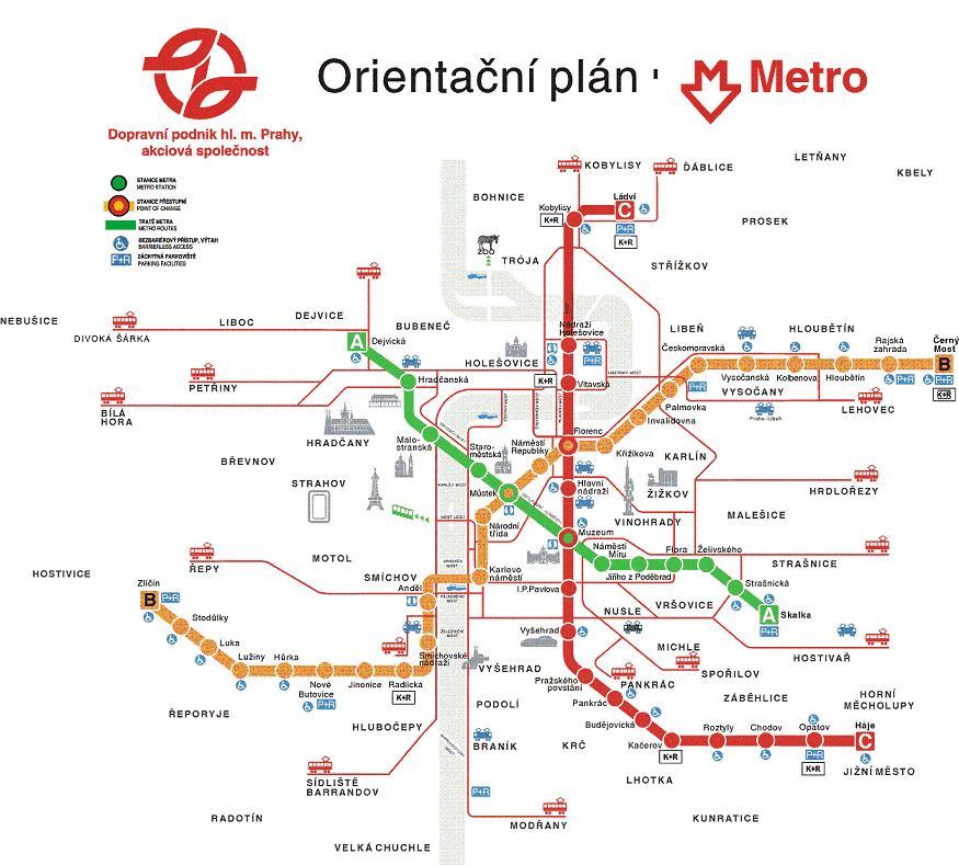 Схема линий метро Праги. Отель